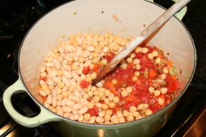 add beans and tomatoes