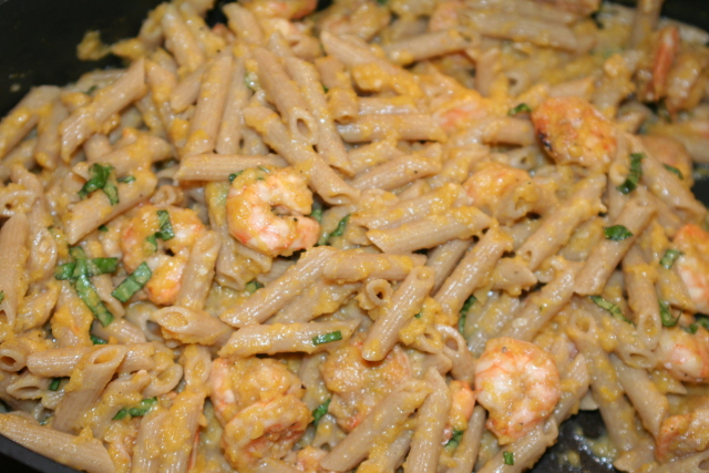 pasta w shrimp and butt sq