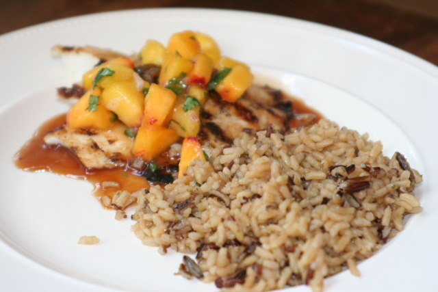 tilapia peach salsa rice