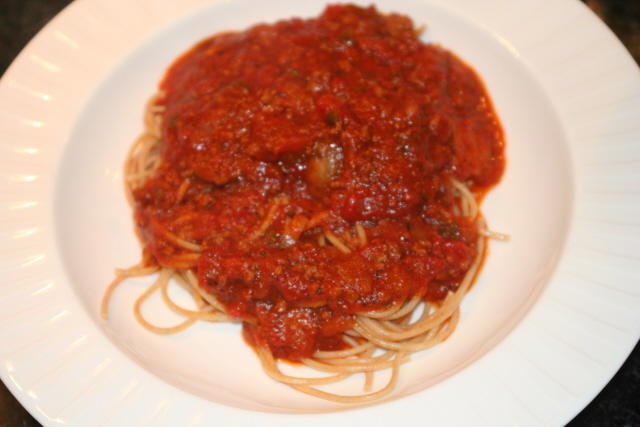 homemade hearty spaghetti